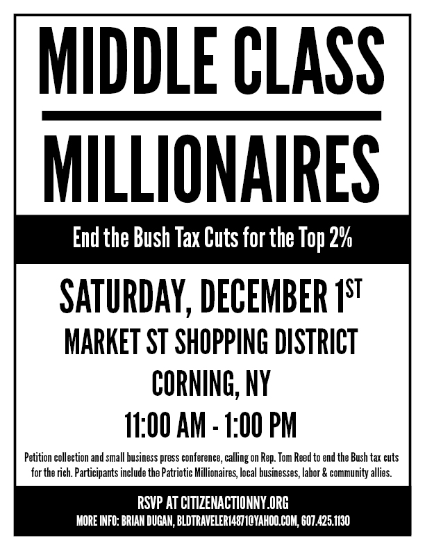 Corning: Middle Class Over Millionaires!