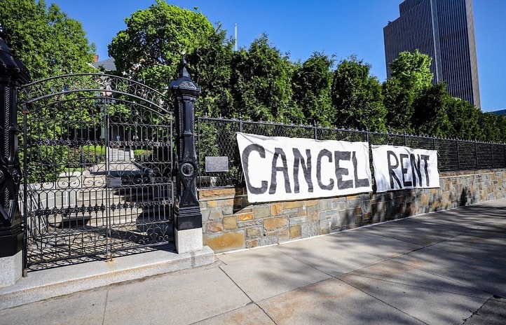 Citizen Action, Housing Justice for All, drops #CancelRent banners at Governor's Mansion
